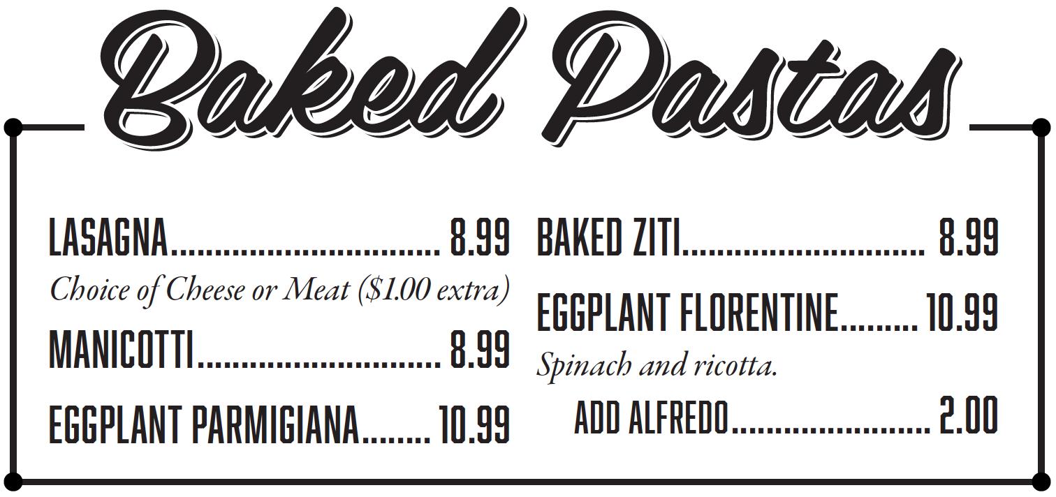 Salis Italian Restaurant Mckinney TX - Baked Pasta Menu