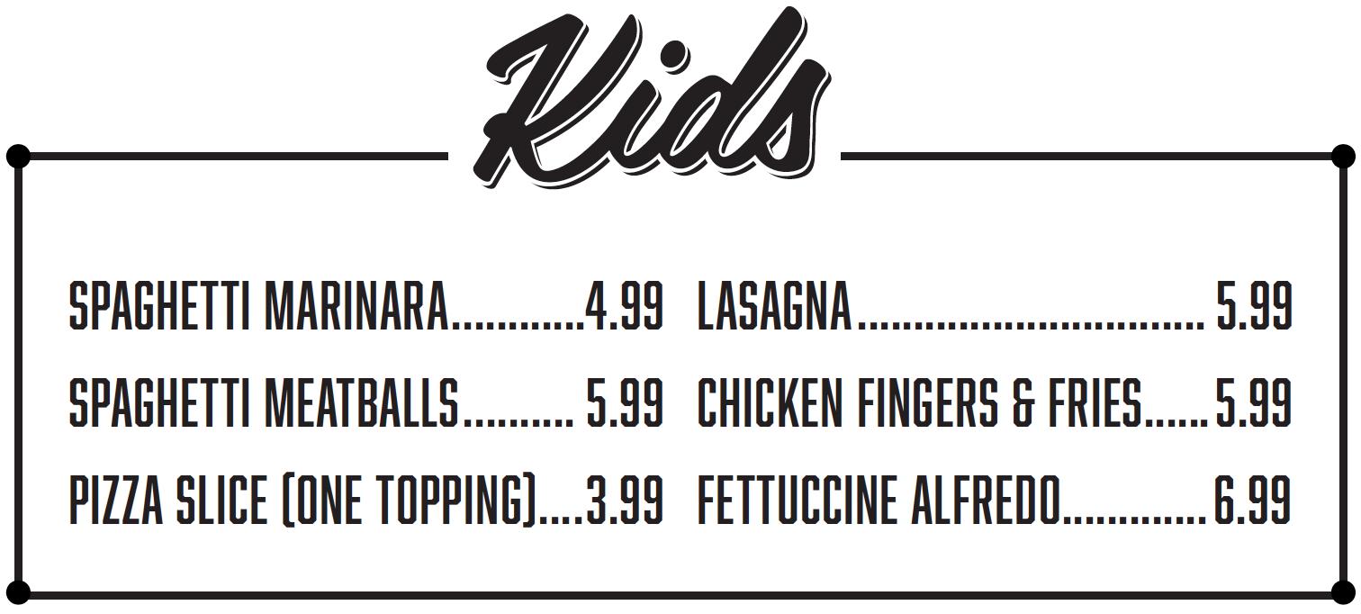 Salis Italian Restaurant Mckinney TX - Kids Menu